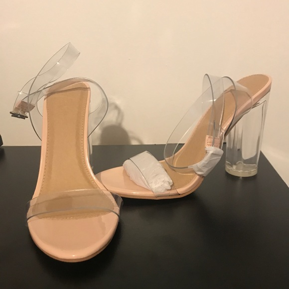 0e7d8dde17d Pale pink/nude clear wrap around ankle strap heels NWT